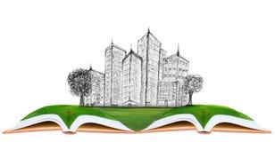 Skissa av modern byggnad på fält för grönt gräs royaltyfri foto