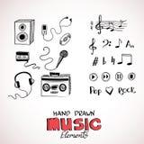 Skissa av musikbeståndsdelar royaltyfri illustrationer