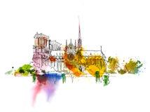 Skissa av Notre Dame de Paris Skissa med färgglade effekter för vattenfärg italy royaltyfri illustrationer