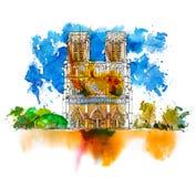Skissa av Notre Dame de Paris Skissa med färgglade effekter för vattenfärg italy stock illustrationer