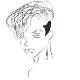 Skissa av sexig kvinna med kort frisyr och den rakade templet Arkivbilder