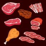 Skissa av skivade köttprodukter vektor illustrationer