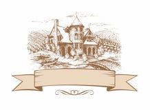 Skissa av slotten Format baner Landskap också vektor för coreldrawillustration stock illustrationer