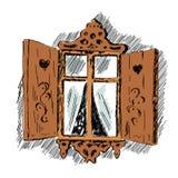 Skissa av snidit trädekorativt snör åt garneringfönstret Gammal trädragen illustration för hus hand vektor illustrationer