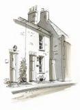 Skissa av stuga i Burhham marknadsför, Norfolk, UK Royaltyfria Bilder