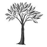 Skissa av svart träd stock illustrationer