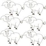 Skissa av svinet med olika sinnesrörelser Arkivbilder