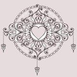 Skissa av tatueringhennahjärtor royaltyfri illustrationer