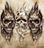 Skissa av tatueringkonst, skallar Arkivfoton