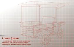 Skissa av thailändska frakttrehjulingar royaltyfri illustrationer