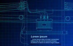 Skissa av transformatorn och kabel på ritningbakgrund royaltyfri illustrationer