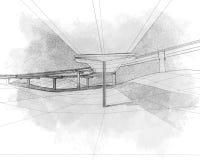 Skissa av två-nivån huvudvägen. Fotografering för Bildbyråer
