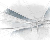 Skissa av två-nivån huvudvägen. Arkivbild