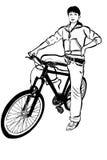 Skissa av ung flicka med en cykel Arkivbilder