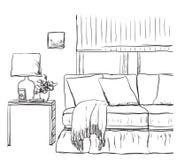 Skissa av vardagsruminre med en stol och en tabell Royaltyfri Bild