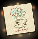 Skissa begreppet av kaffetid på servett Arkivfoto