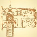 Skissa Big Ben på tegelplattan med UK-flaggan, vektorbakgrund Royaltyfria Bilder