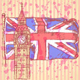 Skissa Big Ben på tegelplattan med UK-flaggan, vektorbakgrund Royaltyfri Bild