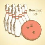 Skissa bowlinguppsättningen i tappningstil Arkivbild