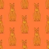 Skissa den egyptiska katten i tappningstil stock illustrationer