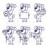 Skissa den fastställda gåvan Megaphon för den pappers- blomman för bollen för teckenhundinnehavet vektor illustrationer