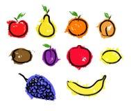 Skissa den fastställda illustrationen för frukt Fotografering för Bildbyråer