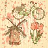Skissa den Holland väderkvarnen, cykeln och tulpan, vektorbakgrund Royaltyfri Fotografi