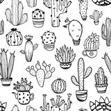 Skissa den sömlösa modellen av kaktuns vektor illustrationer