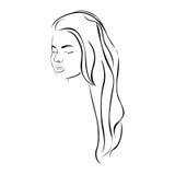 skissa den sinnliga konturn för den kvinnliga framsidan med den långa frisyren Royaltyfri Fotografi