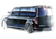 Skissa den stads- ungdombilen i en sportig stil med en kraftig snabb motor Vektor Illustrationer