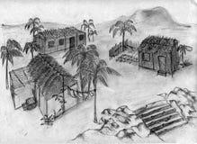 skissa den tropiska byn Arkivfoto