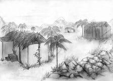 skissa den tropiska byn vektor illustrationer
