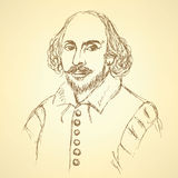Skissa den William Shakespeare ståenden i tappningstil vektor illustrationer