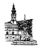 Skissa, dendrog illustrationen, dra sikt av den centrala fyrkanten av Salzburg vid en springbrunn, i den gamla staden Arkivfoton