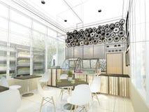 Skissa designen av coffee shop, fotografering för bildbyråer