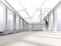 Skissa designen av den inre korridoren Arkivfoto