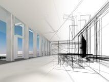 Skissa designen av den inre korridoren Royaltyfri Foto