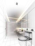 Skissa designen av det inre badrummet fotografering för bildbyråer