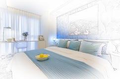 Skissa designen av det moderna sovrummet Arkivbild
