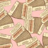 Skissa det dragspels- musikinstrumentet stock illustrationer