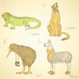 Skissa det utsmyckade djuralfabetet i tappningstil Arkivbild