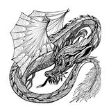 Skissa Dragon Illustration Arkivbild