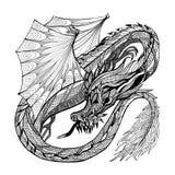 Skissa Dragon Illustration Arkivbild