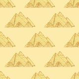 Skissa Egypten pyramider i tappningstil stock illustrationer