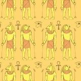 Skissa egyptiska gudar i tappningstil vektor illustrationer