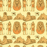 Skissa egyptiska symboler i tappningstil royaltyfri illustrationer