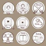 Skissa elkraft- och internetetiketter royaltyfri illustrationer