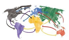 Skissa eller det handdrawn begreppet för globalisering, global nätverkande, loppet eller globalt anslutning eller trans. med royaltyfri bild