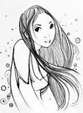 Skissa - en flicka med långt hår Arkivfoton