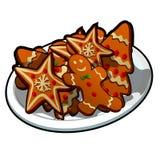 Skissa för hälsningkort, festlig affisch eller partiinbjudningar Attributen av jul och det nya året som isoleras på vektor illustrationer